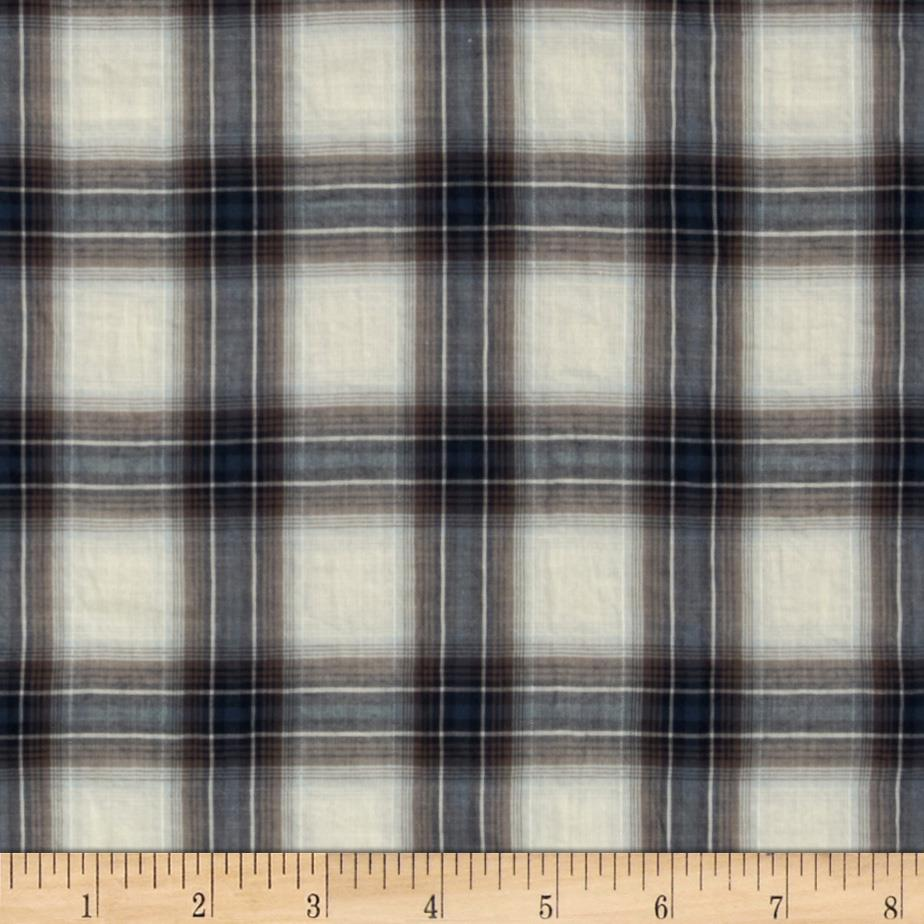 Crinkle Shirting Yarn Dyed Plaid Blue