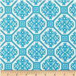 0304832 Laguna Stretch Cotton Jersey Knit  Tile Turquoise/White
