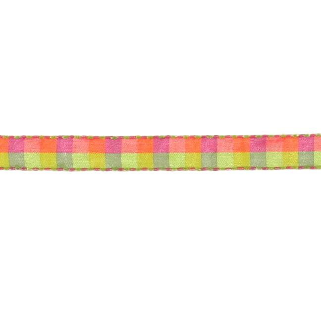 1/2'' Check Stitch Ribbon Green/Fuchsia/Yellow