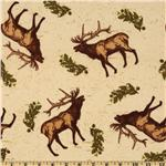 Riley Blake Elk Ridge Flannel Tossed Elk Cream