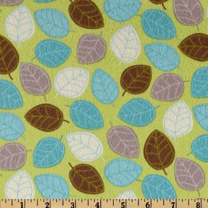 Zig Zag Zoo Flannel Leafs Aqua