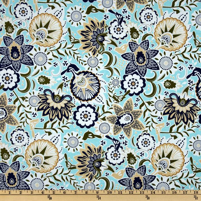 Song Bird Large Floral Blue
