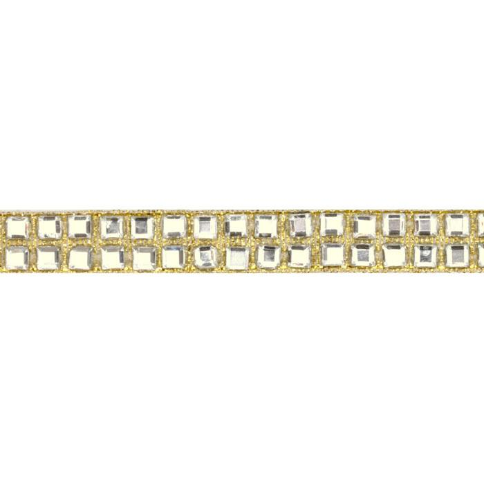 Hot Fix Flatback Rhinestone Trim Crystal Square/Gold Band
