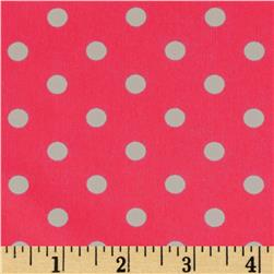 Flutter Peachskin Dots Hot Pink/White