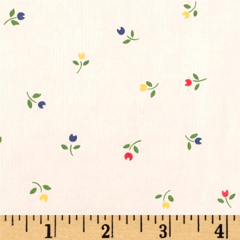 Flannel Backed Vinyl Tulips White