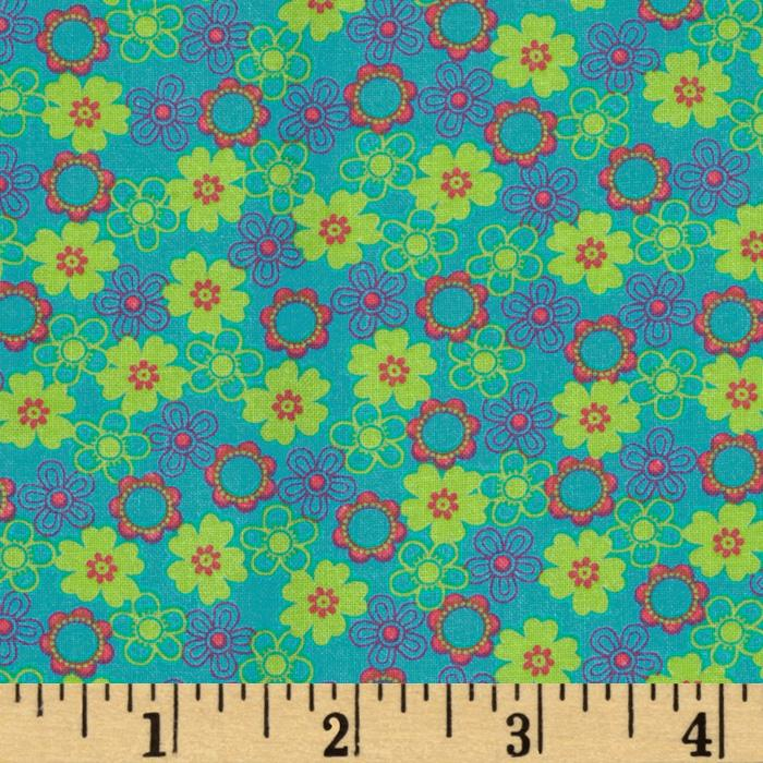 Tutti Frutti Flowers Turquoise/Lime