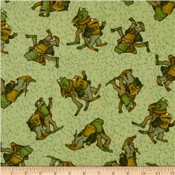 Frog and Toad Together Flannel Tossed Friends Green