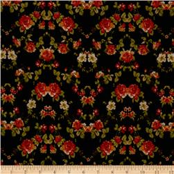 Designer Stretch ITY Knit Floral Gold/Red