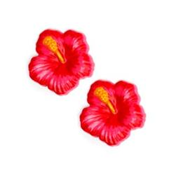 Novelty Button 3/4'' Hibiscus Dark Pink
