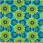 Picadilly Lane Tossed Star Florals Aqua