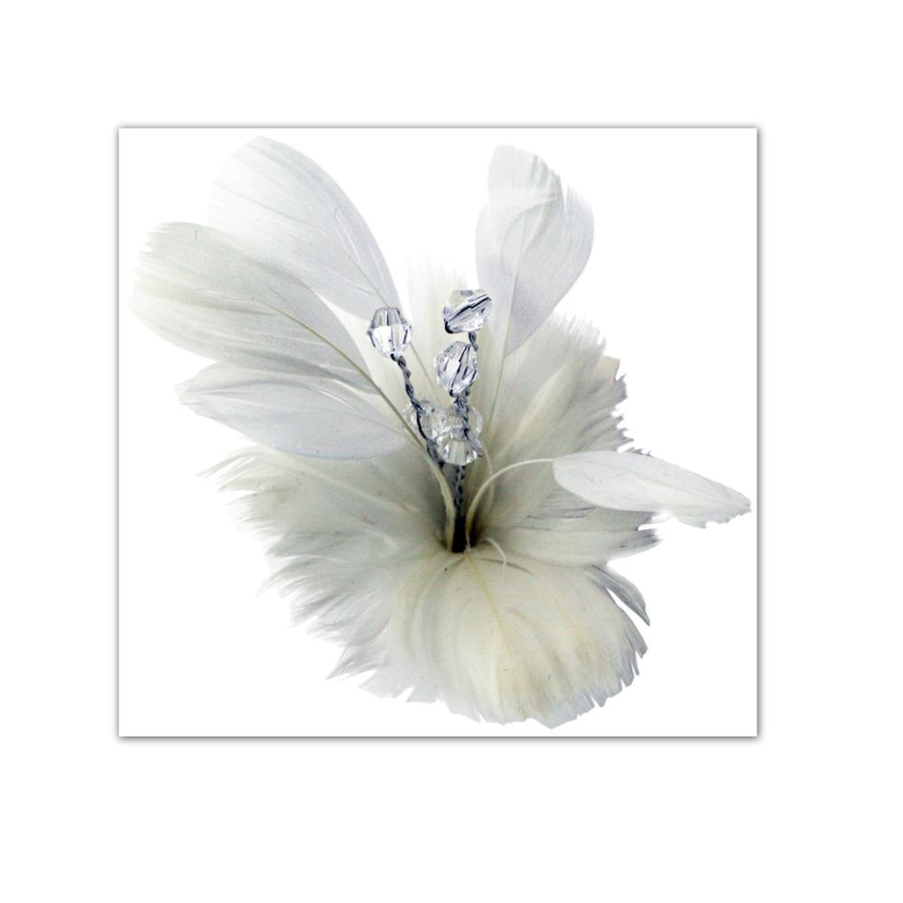 Laliberi Pin &amp; Clip Flower Feather Bloom White