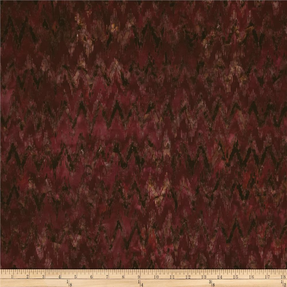 Artisan Batik Cornucopia 4 Chevron Maize Autumn Burgundy