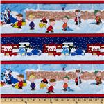FJ-241 Christmas Time Peanuts Repeating Stripe Red/Navy