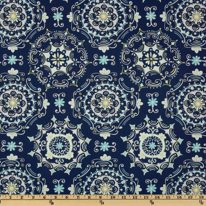 Tea Garden Dream Right Medallion Navy
