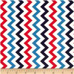 Patriotic Pop Metallic Chevron White