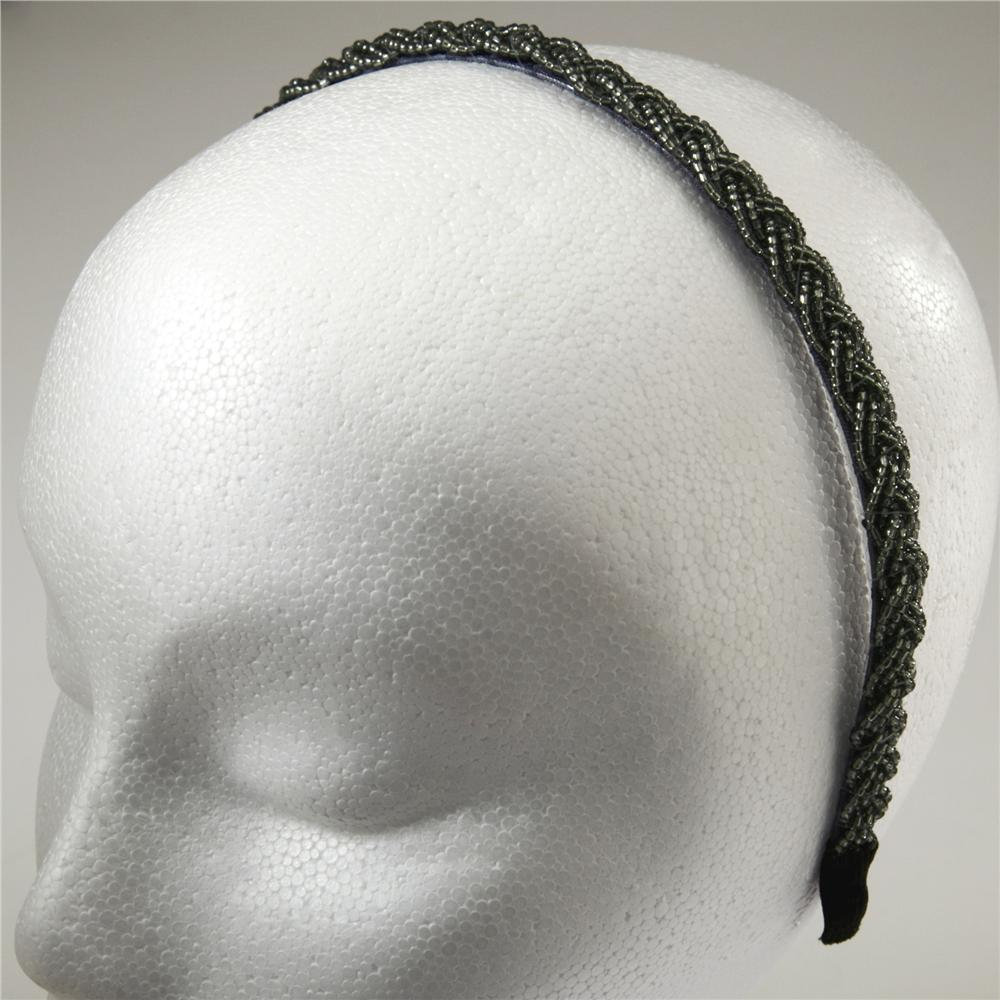 1/2'' Braided Rocaille Beaded Headband Grey