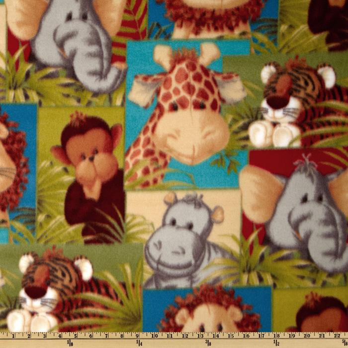 Jungle Babies Fleece Patchwork Animals Green