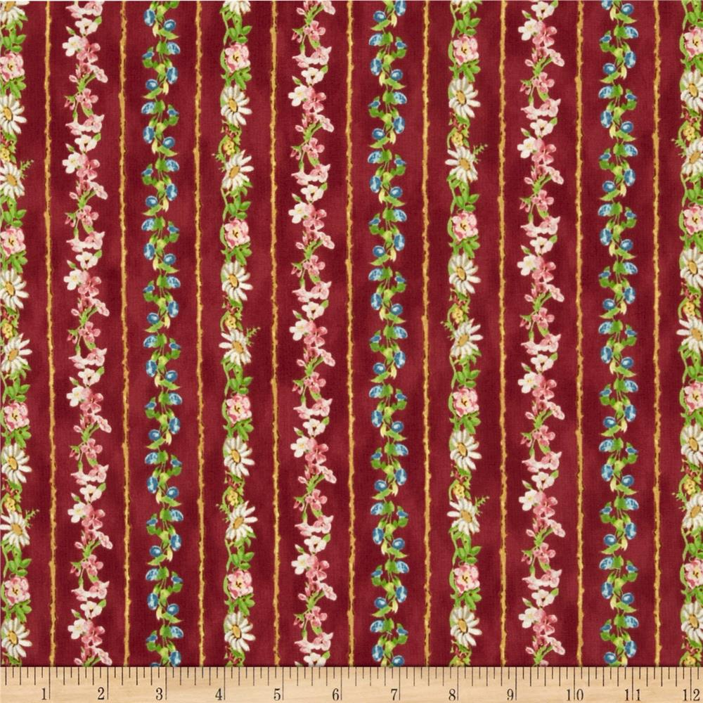 A Child's Garden of Verses Floral Stripe Red