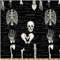 Timeless Treasures Glow In The Dark Skeletons Black