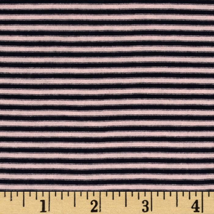 Designer Stretch Rayon Jersey Knit Stripes Pink/Navy