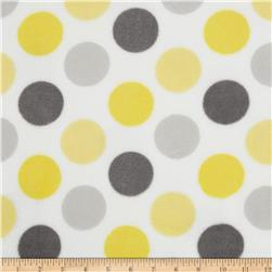 Plush Coral Fleece Polka Dot Grey/Yellow