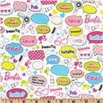 FG-772 Barbie Words Flannel White/Multi