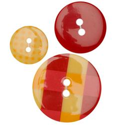 Fashion Buttons 3/4'', 1/00'', 1 3/8'' Coordinates Plaid Red/Yellow