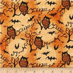 Halloween Owls and Branches Orange