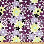 DW-136 Kaufman Minky Cuddle Dots &amp; Daisies Tiffany/Violet