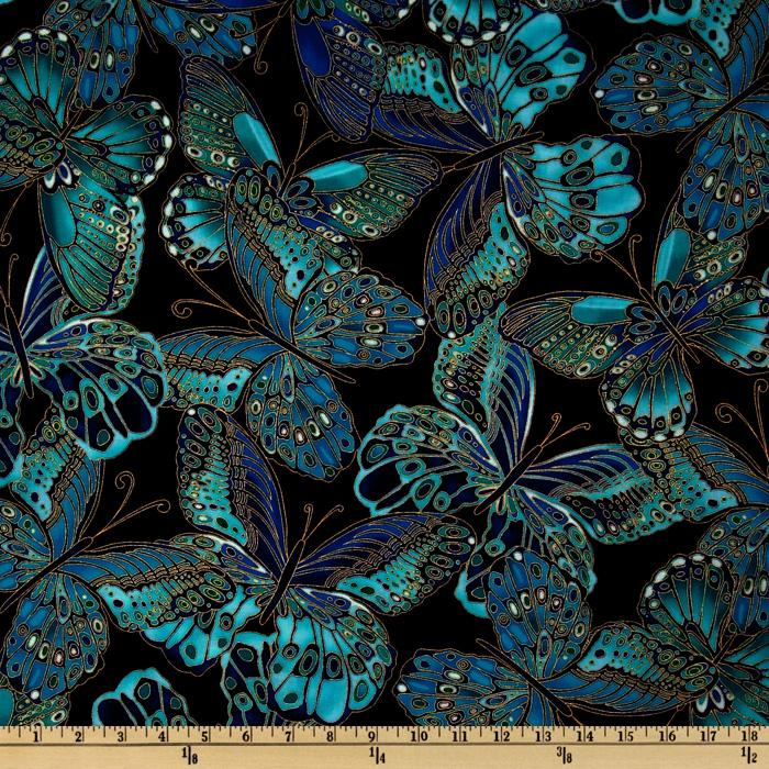 Timeless Treasures Shimmer Butterflies Black
