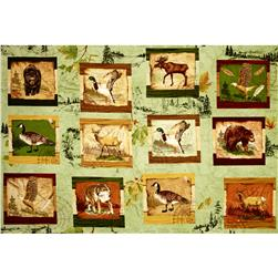 Wilderness Park Forest Animal Squares Light Green/Multi