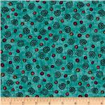 Flower Power Swirls Teal