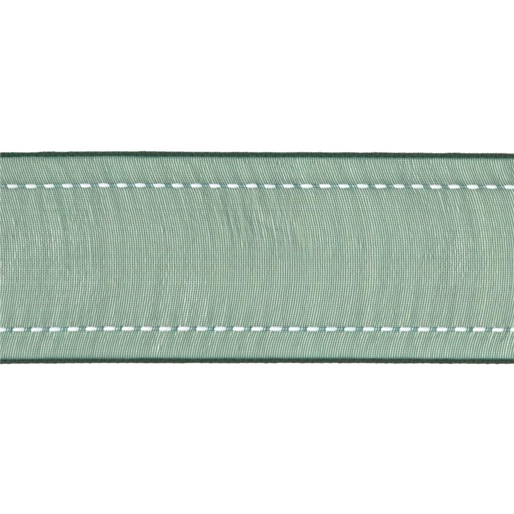 "1 1/2"" Sheer Stitched Edge Ribbon Forest Green"