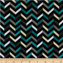 Fashionista Jersey Knit Small Chevron Black/Teal