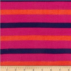 Designer Hatchi Sweater Jersey Knit Stripes Hot Pink