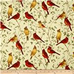 0301793 Timeless Treasures Nature Cardinals Cream