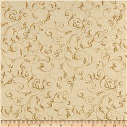 "110"" Wide Flannel Quilt Backing Filigree Cream"