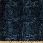 108&#39;&#39; Wide Tonga Batik Quilt Backing Leaves Beluga Navy