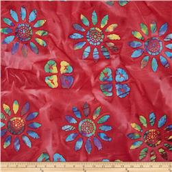 Indian Batik Large Floral Red/Multi