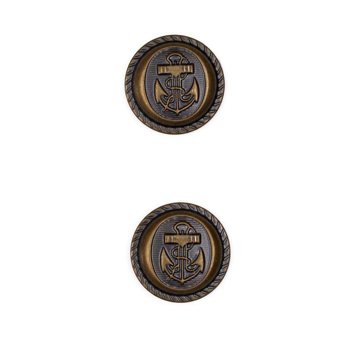 Metal Button 3/4&quot; Navy Club Antique Brass