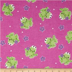 Flannel Tossed Frogs & Flowers Pink