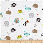 Riley Blake Life In The Jungle Mini Animals White