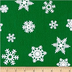 "Holiday Felt 9'' x 12"" Cut Craft Felt White Snowflake Kelly Green"