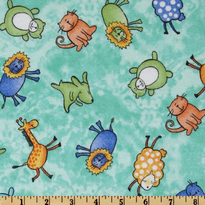 Comfy Flannel Whimsical Animals Aqua