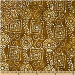 FP-872 Double Sided Quilted Batik Squares &amp; Circles Brown