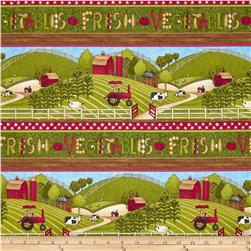 Fresh Vegetables and Farms Repeating Stripe Green/Multi