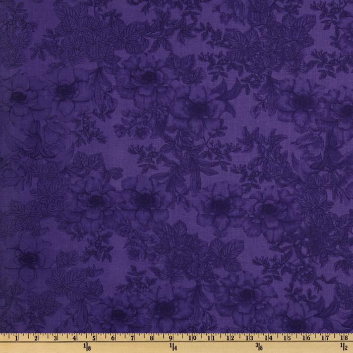 108'' Wide Tonal Bouquet Quilt Backing  Purple