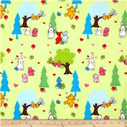 Camelot Flannel Forest Animals Green