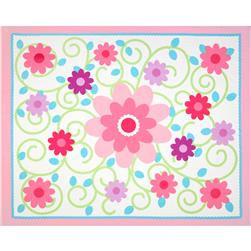 Dilly Dally Nursery Quilt Panel White/Pink