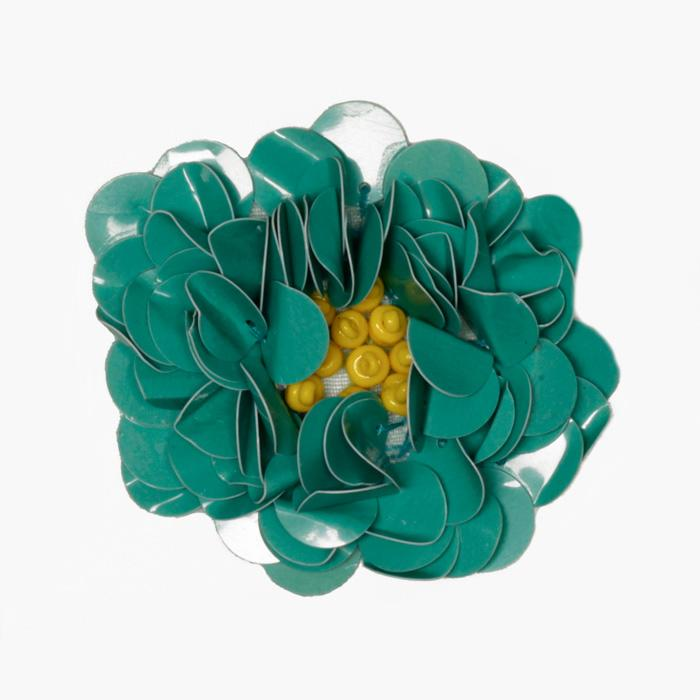 Small Flower Sequin Applique Turquoise